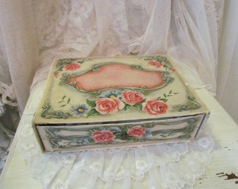 Vintage Pink Rose Cardboard Candy Box With a Drawer Shabby Charming