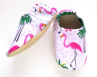 Flamingo Baby Girl Shoes, Soft Sole Shoes, Baby Booties, Baby Girl Soft Shoes, Slip On Baby Shoes, Baby Girl Gift