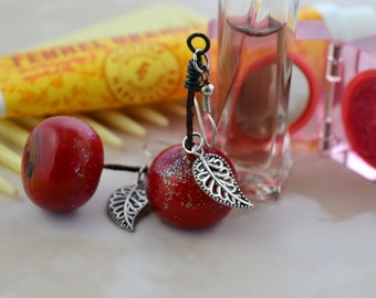 Snow White Inspired - Shiny Red Apple - Poisoned Apple - Repurposed Fake Berries - Upcycled - Fairy Tale - Once Upon A Time Earrings