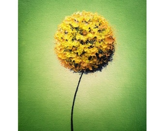Yellow Dandelion Art Print, Golden Abstract Flower Wall Art, Floral Art Contemporary Art Dandelion Flower, Mid Century Modern Art, 5x7, 9x12