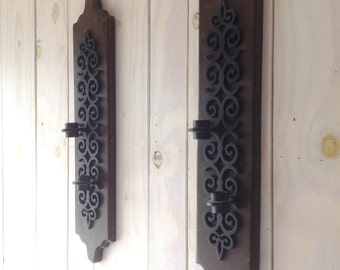 Vintage Wall Sconces. Pair of Wood and Metal Sconce. Deco Sconces.