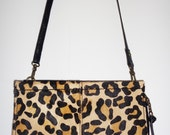 Vtg Black LEATHER & LEOPARD Pony Hair Convertible Clutch/Crossbody Bag