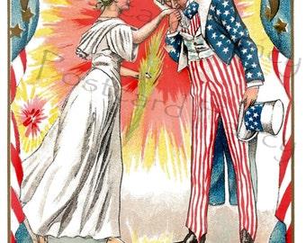 Uncle Sam Fourth of July Vintage PATRIOTIC Postcard, Instant Digital Download