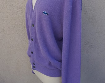 Vintage Purple Cardigan Sweater, Button Up, Light Purple, Lavender, 80's 90's Clothing, Preppy, Golf