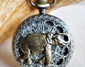 Elephant pocket watch,  Men's mechanical elephant pocket watch with tiger eye beads adorning chain