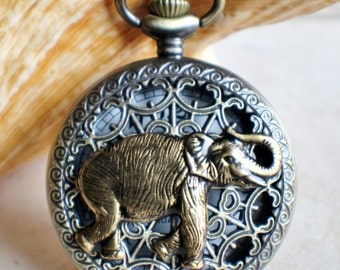 Elephant pocket watch,  Men's mechanical elephant pocket watch with tiger eye beads adorning chain