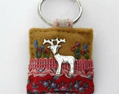 Stag keyring - silver stag - gifts for hunters - antlers - deer keyring - key ring - hand sewn gifts
