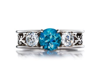 10% SALE size 5, London blue topaz and diamond filigree ring, engagement, white gold, teal engagement, blue topaz trinity, unique band
