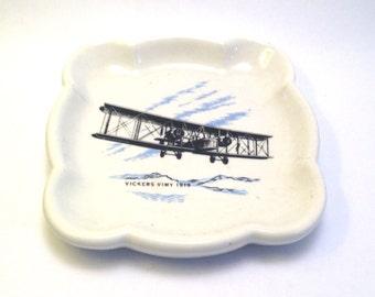 Wade Vickers Vimy 1919 Dish - Vintage Pin / Trinket Tray - Wade Pottery - Wade Trinket Dish - Wade Collectables - Wade - Wade Pin Tray