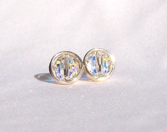 Swarovski Crystal AB Stud Earrings, Sterling Silver, Crystal Wire Wrapped Jewelry