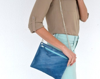 Leather purse / Blue leather handbag / Handmade blue raf leather clutch with silver metal chain / Vintage look leather