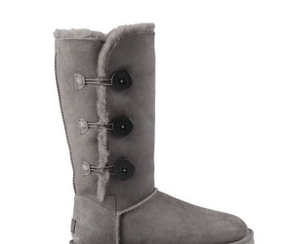 Custom Crystal UGG Australia Bailey Button Triplet Boots Tall w/ Swarovski Bling Winter Glass Slippers Shoe Ladies Dynamite Rhinestone Gifts