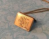 Vintage Art Deco Locket, Rectangular Floral Bouquet Locket on Original Chain, Wedding Locket, Gift for Her