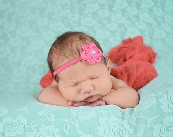Hot Pink Baby Headband Newborn Baby Girl Headband Newborn Headband Crochet Flower Headband Photo Prop Photography Prop Baby Shower Gift