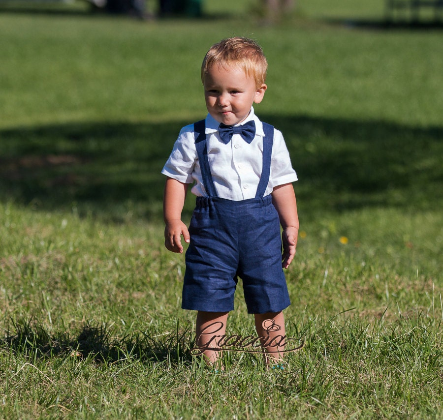 Ring bearer outfit Boy suspenders suit Baby boy linen clothes