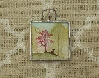 Soldered Art Glass Charm/Pendant of Beautiful Watercolor Landscape