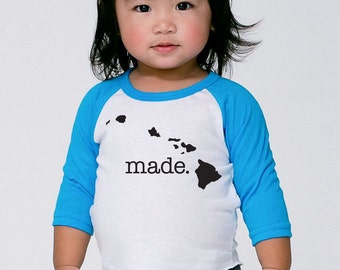 Hawaii 'Roots' or 'Made' Baby Toddler Kid Poly Cotton 3/4 Sleeve Baseball Shirt - Baby Shirt