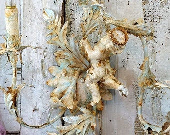 Cherub tole sconce wall lighting shabby cottage chic rusty distressed crystal wall lighting white French blue home decor anita spero design