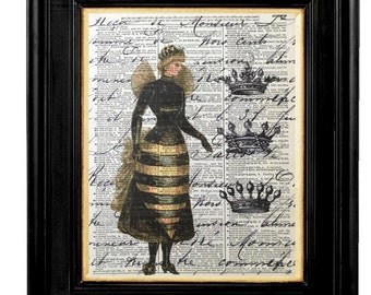 Vintage Bee Woman Print Honey Bee Wall Art Prints, Honey Bee, Mixed Media Size 8x10 Vintage Dictionary Page Print, Honey Bee Pictures, Bees