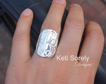 """Sterling Silver Monogram Ring - Hand Engraved Initials Ring - Large Monogram Ring 1"""" - Oval Monogram in Yellow, Rose or White Gold"""