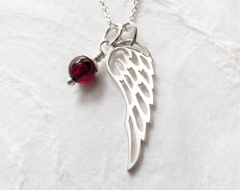 Guardian Angel Necklace, Angel Wing Jewelry, First Communion Confirmation Gift for Goddaughter, Protection Necklace, Garnet, Sterling Silver