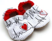 heart baby shoes, hospital booties, heart monitor baby soft sole shoes toddler slippers kids slippers heart warrior red and white baby shoes