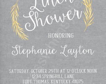 Gray, Rustic, Fall, Bridal/ Linen Shower- 5x7 Printable Invitation