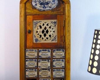 Vintage Kitchen Spice Rack Cabinet, Antique Wooden Dutch Spice Rack Cabinet, Dutch Porcelain Spice Cabinet, Porcelain Drawers