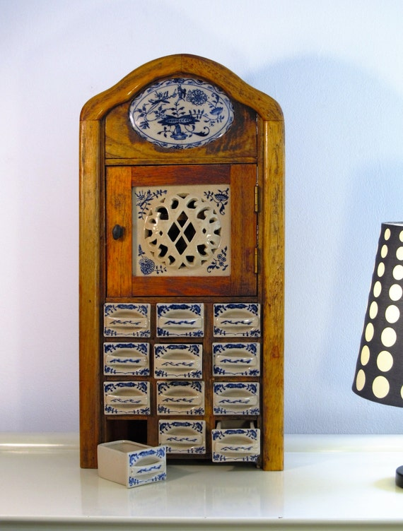 Reserved to A. Vintage Kitchen Spice Rack Cabinet Antique