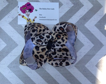 Leopard Print Boutique Hair Bow
