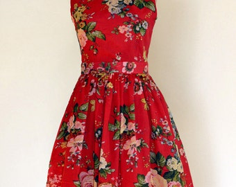 Red Floral Day dress,  Made to Order