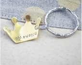 Hand Stamped Crown Keychain - Princess Keyring - Custom Name Crown Keychain