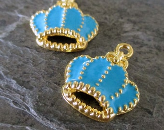 blue enamel crown charms gold toned bright royal french jewelry supply small pendant vintage style, 1 pair