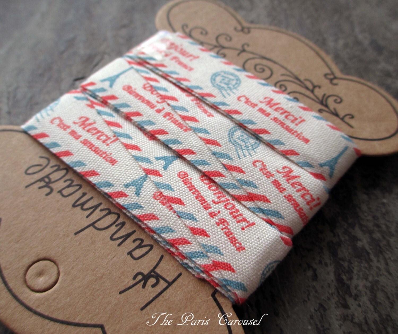 Fabric Ribbon Tape Eiffel Tower Paris France French