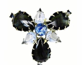 Blue Glass Cabochon Brooch Rhinestone mid century pin