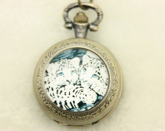Necklace Pocket watch two leopards