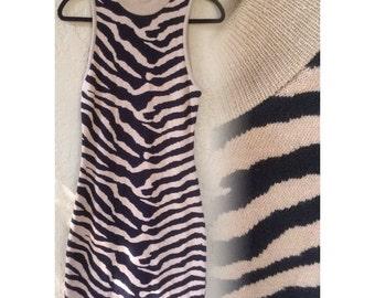 Vintage zebra print cocktail mini dress
