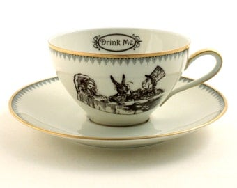Alice in Wonderland Tea Party Cup Vintage Altered Tea Coffee Saucer Porcelain Lewis Carroll Whimsy Drink Me White Brown Romantic