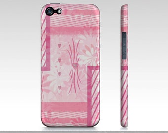 Pink iPhone 5 Cases, Pink Daisy Hearts iPhone 5 Cases, Girly Pink iPhone 5 Case, iPhone 5 Art Case, Hard Protective Slim Case For iPhone 5