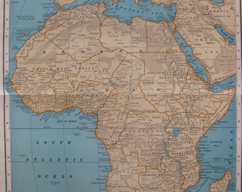 Antique Map of AFRICA Map Poster Print Size 1932 Vintage RARE SIZE Africa Gallery Wall Art Map Collector Gift for Traveler 6694