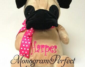 """Personalized 12"""" Stuffed Pug Dog"""