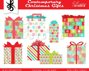 Digital Clipart-Contemporary Christmas-Gifts-Presents-Christmas Clipart-Gift Clipart-Holiday Cards-Scrapbooking-Instant Download Clip Art