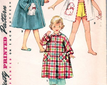 """Vintage 1953 Simplicity 4503 Child's Robe in Three Lengths,Transfer Included Sewing Pattern Size 3 Breast 22"""""""