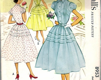 Vintage 1952 McCall's 8953 One-Piece Pin Tuck Shirtwaist Dress with Full Skirt Sewing Pattern Size 13 Bust 31""