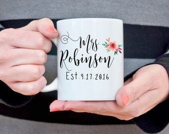 Mrs. Coffee Mug Wedding Date Customizable Coffee Mug Bridal Shower Gift for Bride Wedding Gift for Her Wife to Be Newlywed Gift