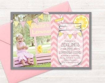 Pink Lemonade Stand Invitation, Birthday Invitation Kids, Mason Jar Chevron Lemonade Invite, Lemonade Photo Invitation, Girls Pink Invite