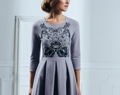 Gray nuance - Skater dress / Short grey dress / Womens dress - SALE