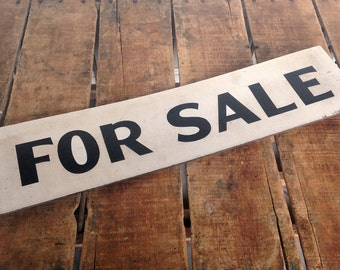 Vintage For Sale Sign, Double Sided Vintage Sign, Painted Vintage Sign, Real Estate Sign, Paint on Masonite/Chipboard, Black and White