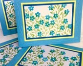 Set of 4 Hand made cards: Forget me nots - blue flowers - blank flower cards - all occasion handmade cards - hand stamped - Wcards