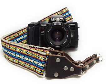Hemp Camera Strap - Colorful Vintage Style Woven Ribbon on Organic Hemp Webbing and Leather Ends - works with DSLR, SLR and Manual Cameras